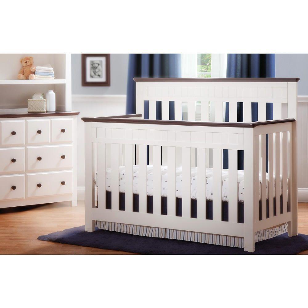 299 Delta Chalet Convertible 4 In 1 Crib In White Ambiance Dark Chocolate Delta Babies R Us Cribs Convertible Crib White Delta Children