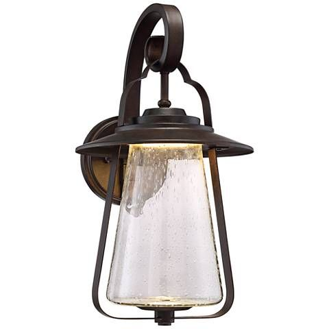 Grandfield 18h bronze seedy glass led outdoor wall light 9k949 lamps