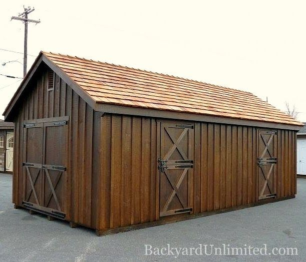 12 X24 2 Stall Horse Barn With Board And Batten Siding Mushroom Stain Cedar Shake Roof And Gable Vent Http Www Backyardunlimi Horse Barns Shed Plans Barn