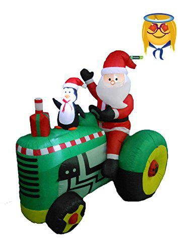 53 Foot Tall Christmas Inflatable Santa Claus Drive Tractor with