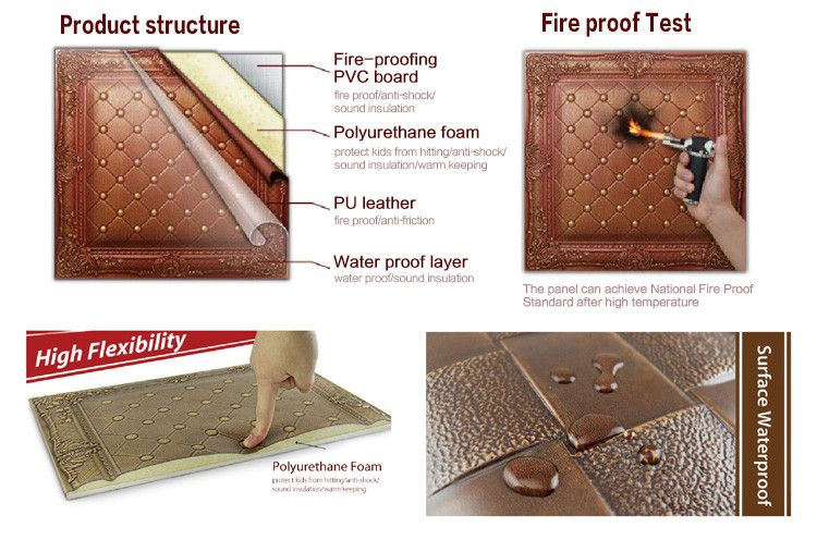 New Building Material 3d Carved Leather Fire Resistant Decorative