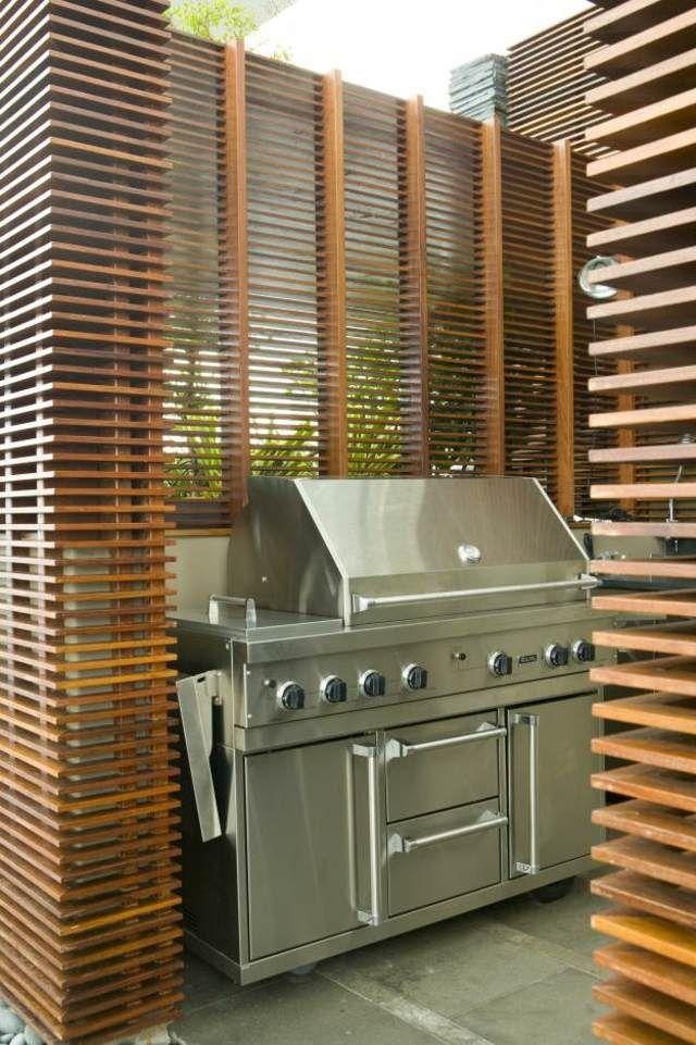 Gartengrill Edelstahl Outdoor Küche Lattenzaun Outdoor küche - dachterrasse gestalten stadtoase wasserspielen miami