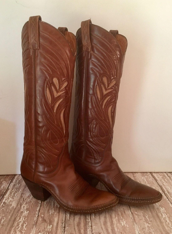982b766cd28 Vintage Ladies Boots, Dan Post Handmade, Walking Cowboy Boots ...