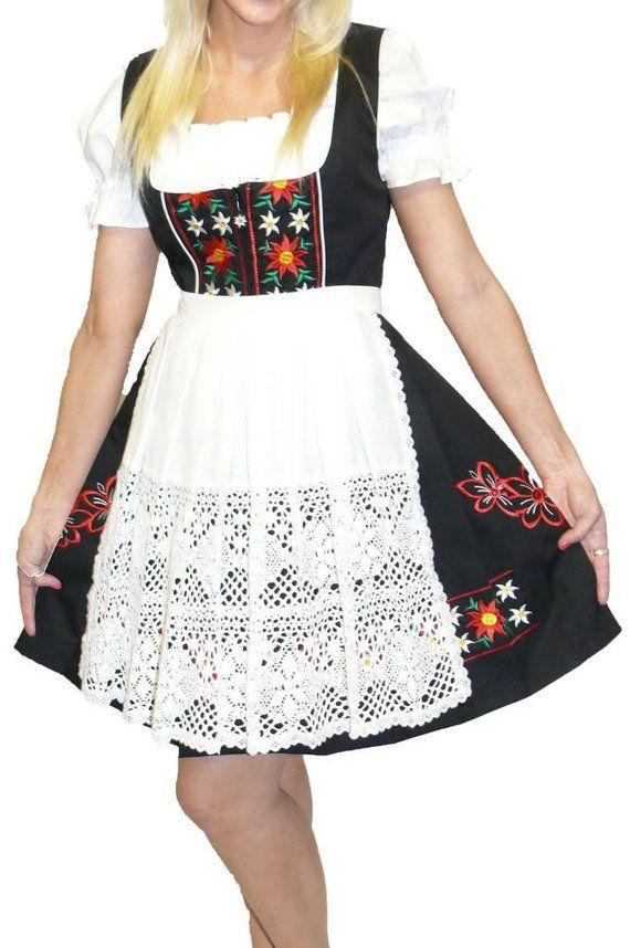 3-Piece Short Black German  Dirndl Dress 2 4 8 10 12 14 16 18 20 22 24 S M L XL 2XL #area51partyoutfit