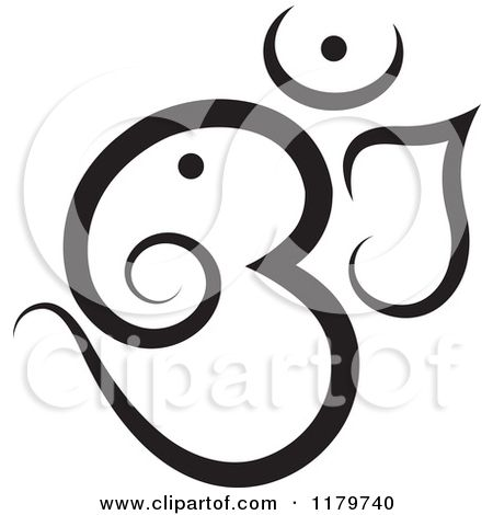 Clipart Of A Black And White Om Or Aum Hinduism Symbol Royalty