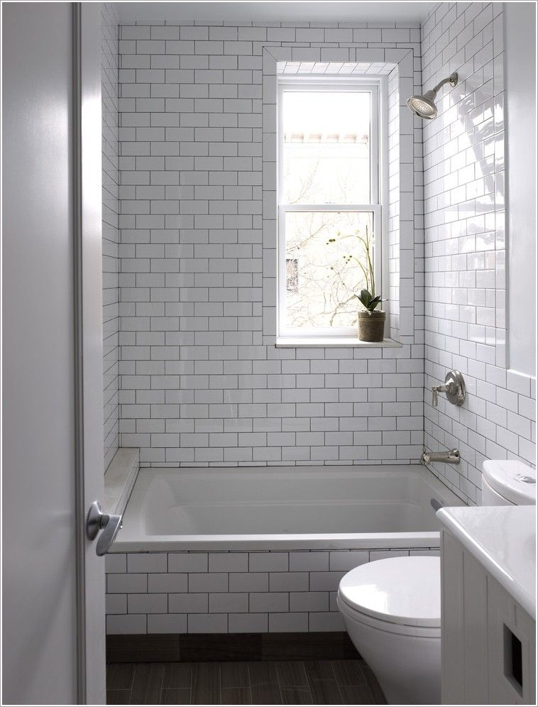 Bathroom Contemporary New York Bathroom Window Dark Floor Gray Grout House Plants Shower Tile