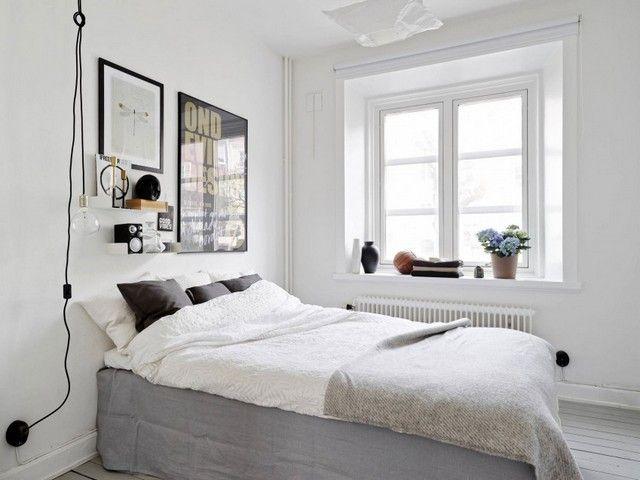Schlafzimmer puristisch ~ Wohnung schlafzimmer skandinavischer stil poster wand deko