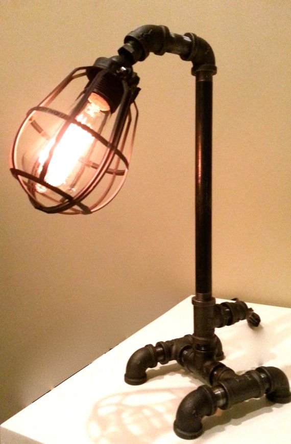 Black Iron Desk Lamp With Lamp Guard And Edison By ChicagoLights, $97.00