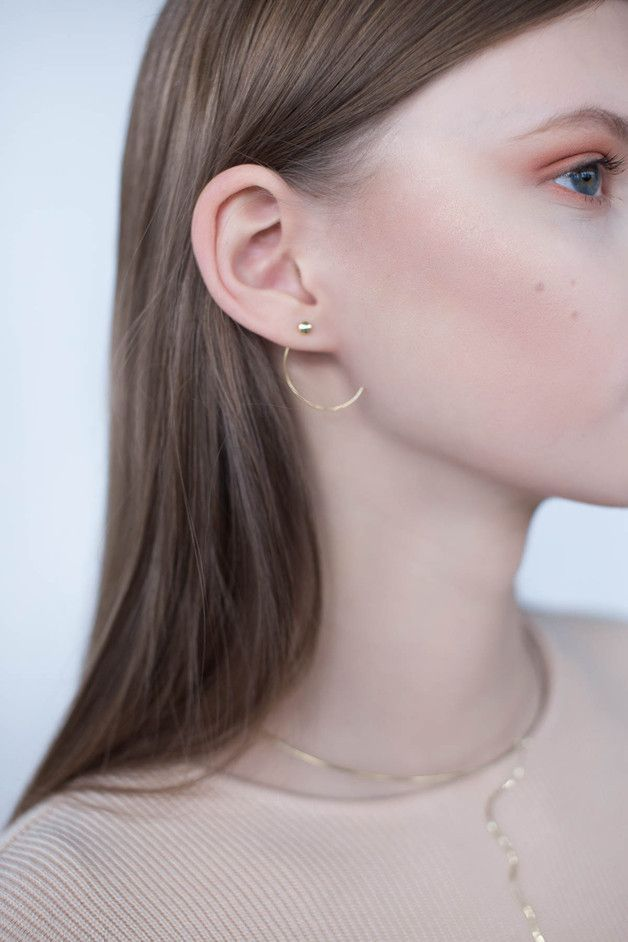Minimalist earrings made by hand. Made with silver and gold plated with 24 karat gold - a unique product by NOII-jewellery. Via en.DaWanda.com.