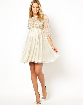 d15467efc06a Image 4 of ASOS Maternity Skater Dress With Daisy Embellishment ...