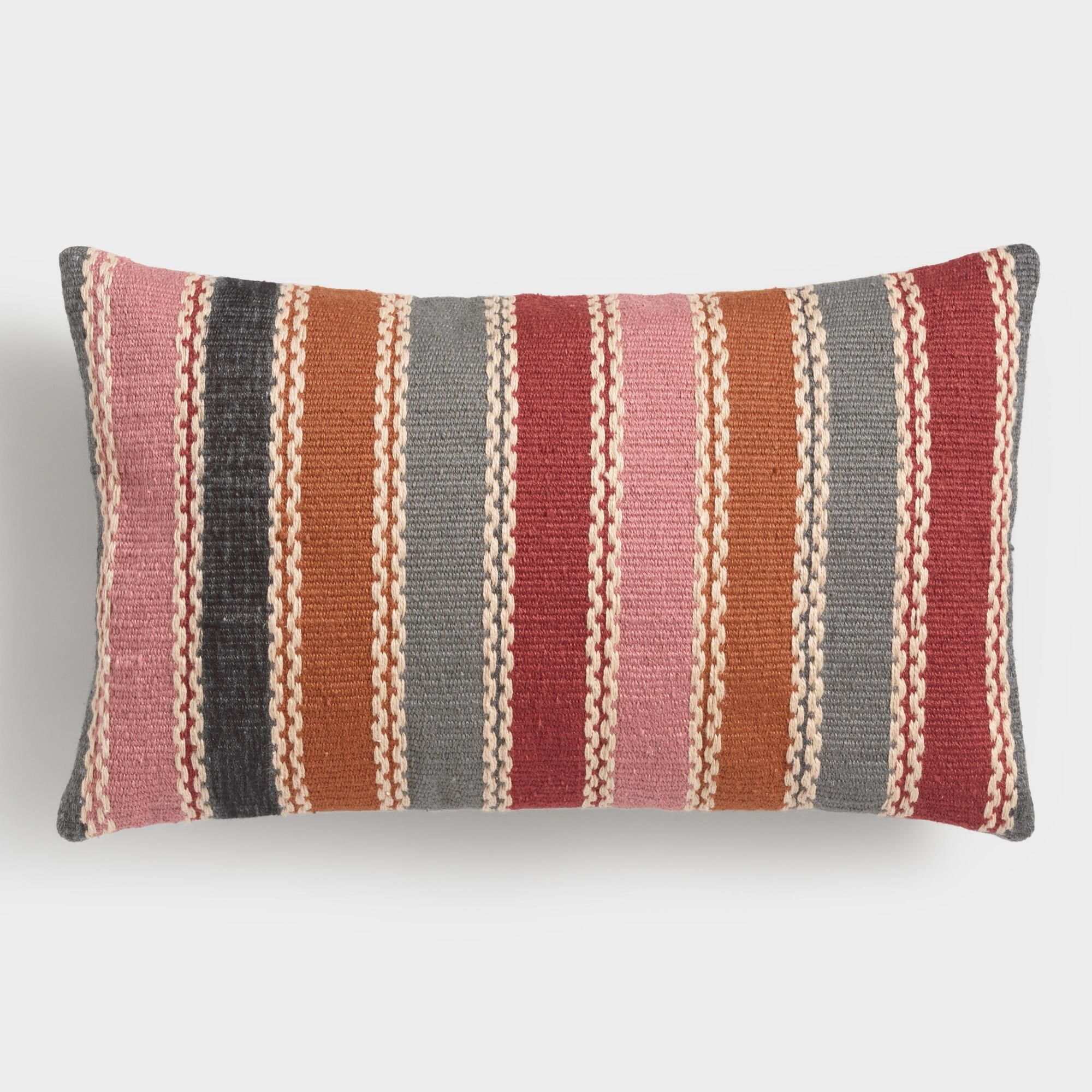 Bon Warm Multicolor Woven Indoor Outdoor Patio Lumbar Pillow By World Market