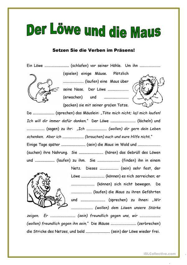 Der Löwe und die Maus | Hallo, Kinder, wir lernen Deutsch ...