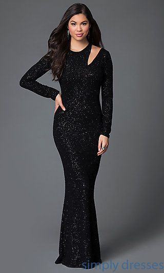 Long Sleeve Beaded Black Floor Length Dress | Dress formal, Dress ...