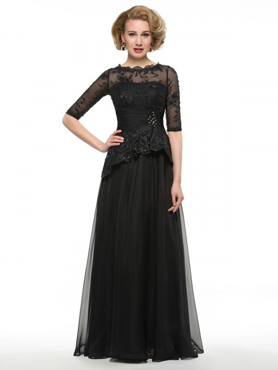 Long black length sleeves lace chiffon mother of the bride
