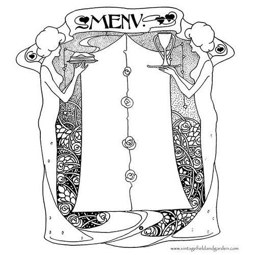 1902 Art Nouveau Ladies with Food \ Drink Menu Template by - free drink menu template