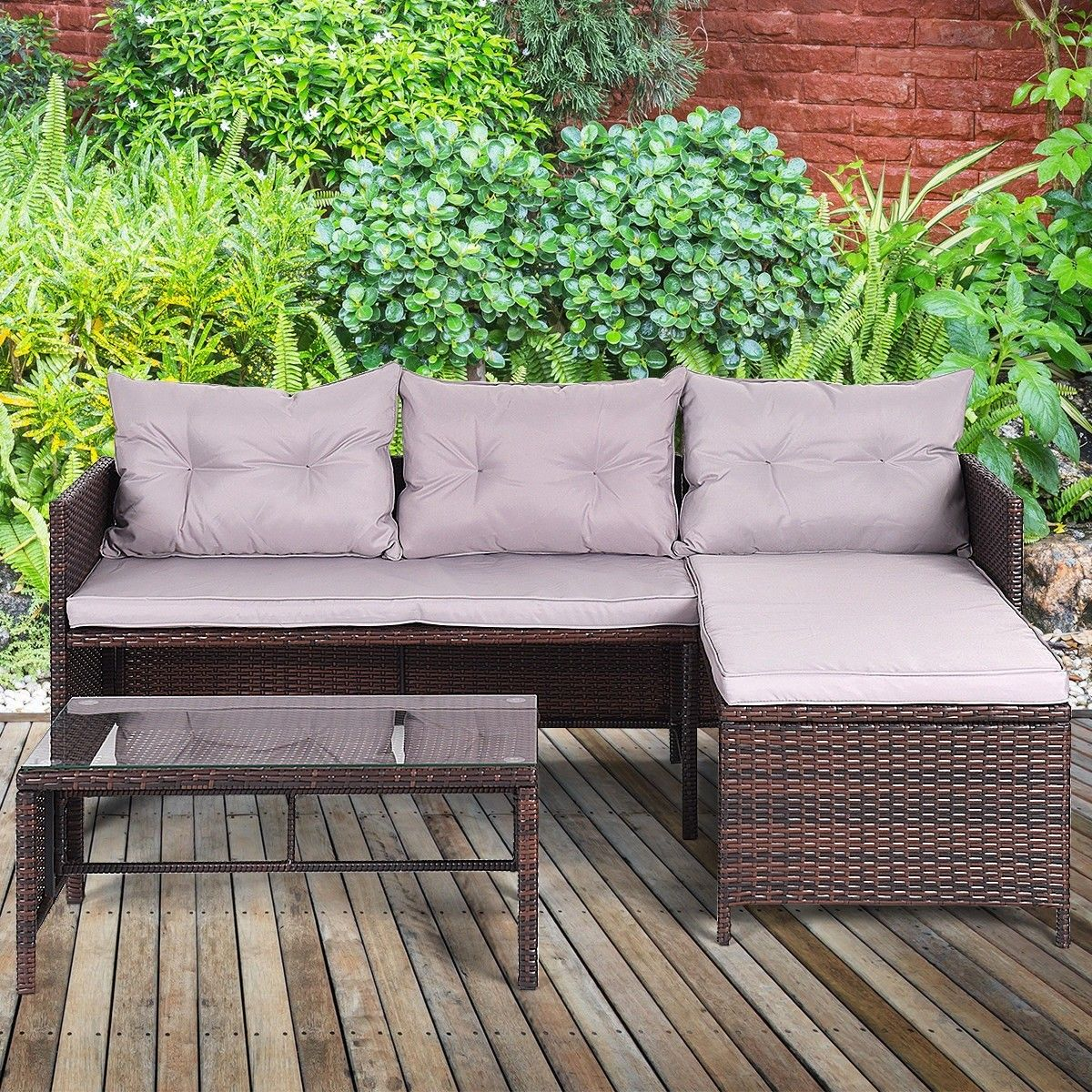 3 Pcs Rattan Wicker Deck Couch Outdoor Patio Sofa Set Furniture Sofa Set Patio Sofa Set Garden Patio Furniture