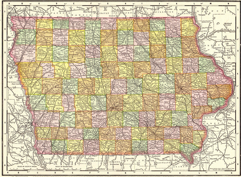 1900 Antique Iowa State Map Original Vintage Map Of Iowa Wall Art