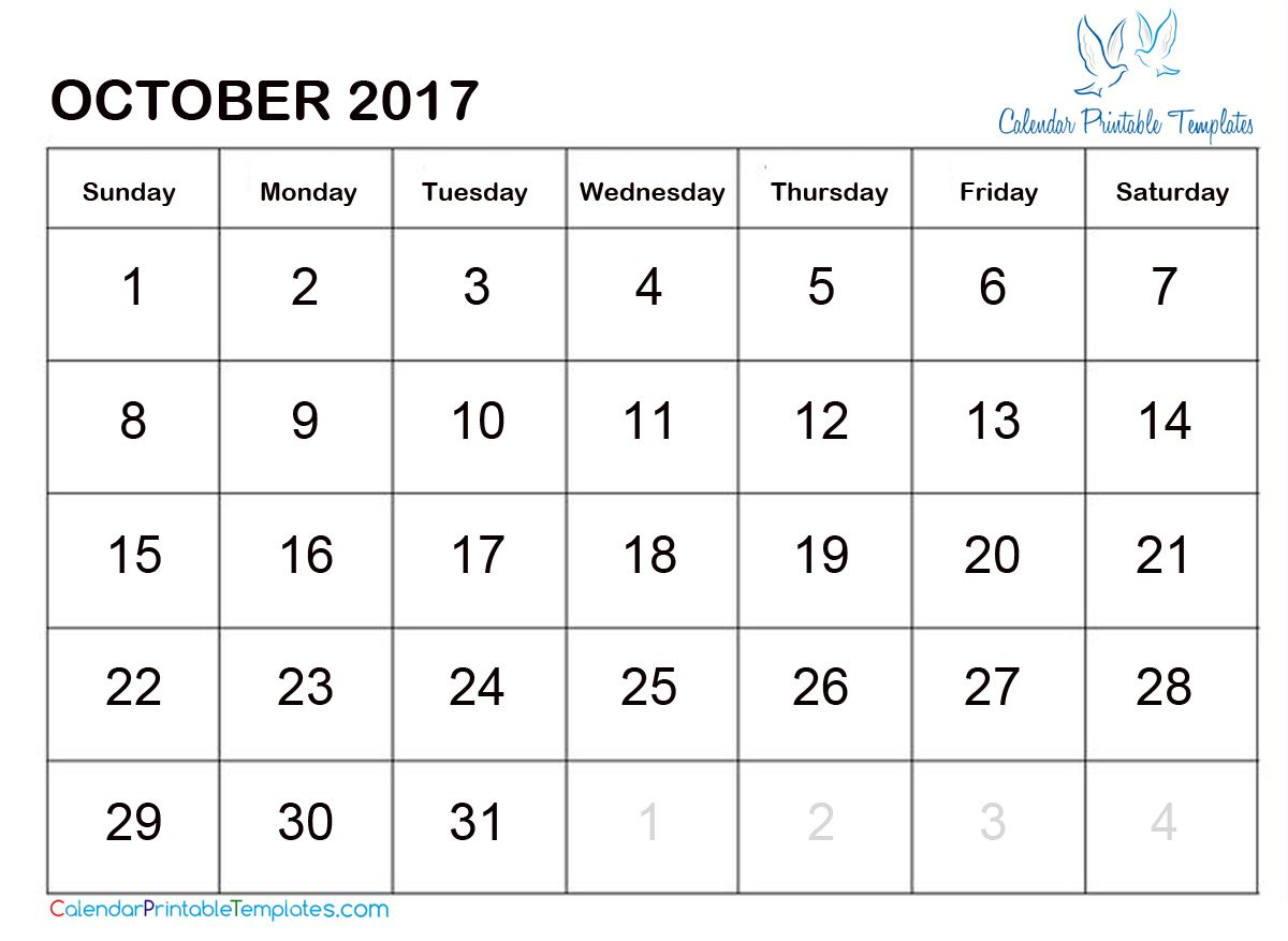 October  Calendar Printable HttpWww