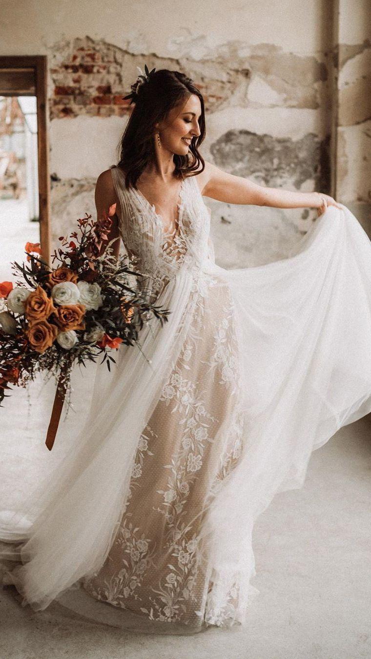 Elegant V Neck Tulle Wedding Dresses A Line Backless Bridal Gowns Wd411 Summer Wedding Dress Backless Wedding Dress Beach Wedding Dress [ 1350 x 760 Pixel ]