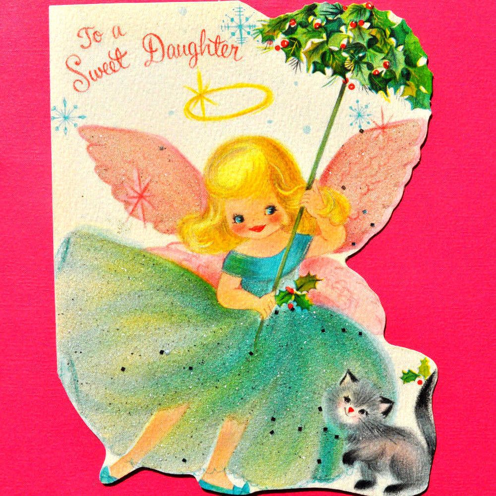Angel girl with a parasol kittenvtg xmas greeting card die cut cute angel girl with a parasol kittenvtg xmas greeting card die cut cute cat glitter m4hsunfo