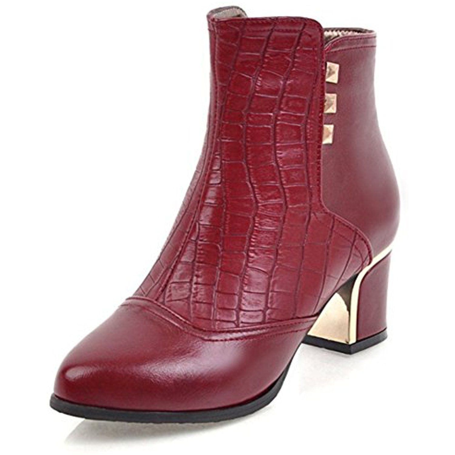 Women's Fashion Studded Dress Inside Zip Up Booties Mid Block Heel Round Toe Ankle Boots