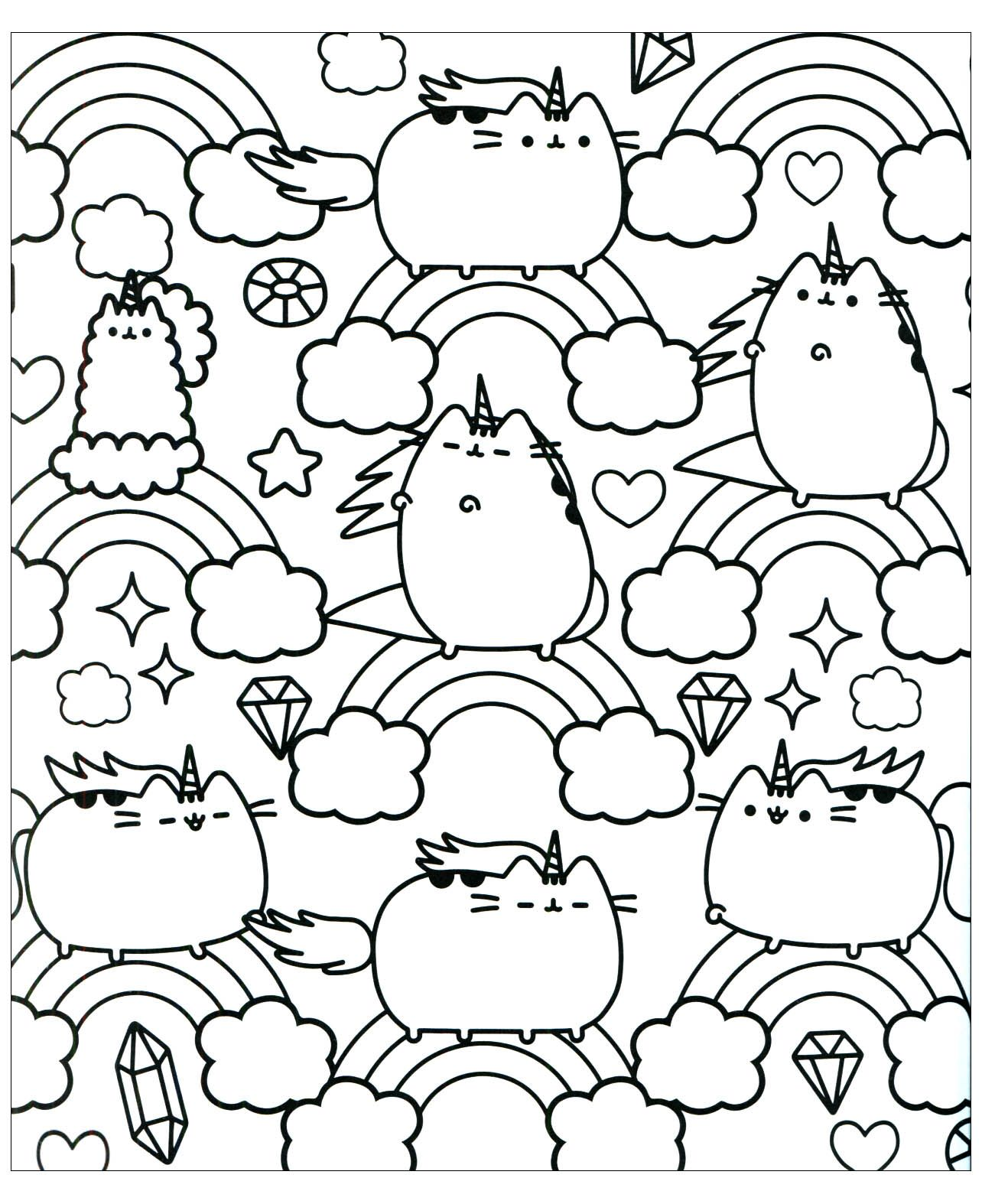 Kawaii Pusheen The Cat Smartphone Coloring Sheet Cat Coloring Page Coloring Pages For Girls Coloring Pages