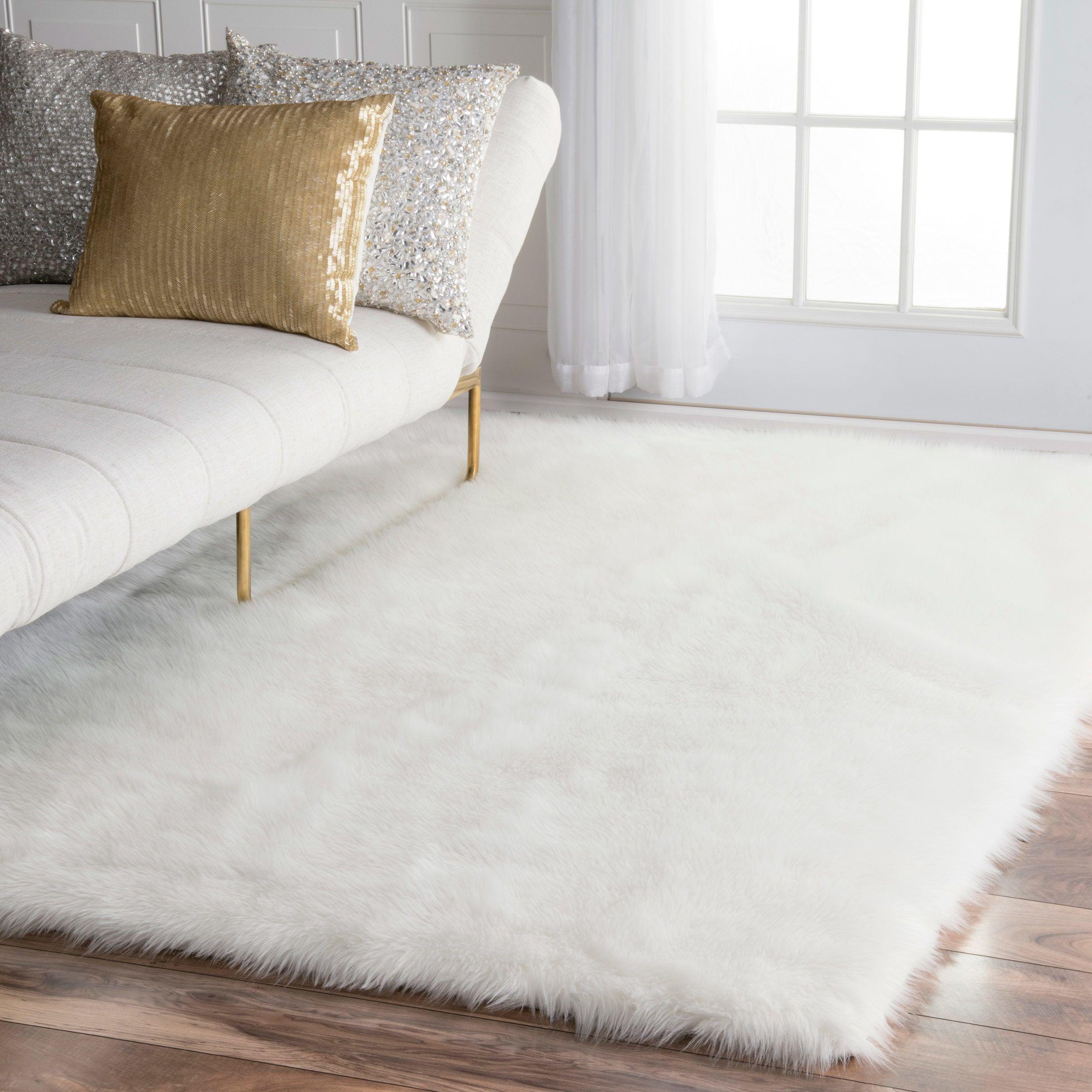 Nuloom Faux Flokati Sheepskin Solid Soft And Plush Cloud White Rug 6 X9 Size X 9