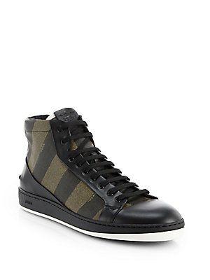 537513cedc Fendi Pequin High-Top Sneakers | MEN'S SHOES | High top sneakers ...
