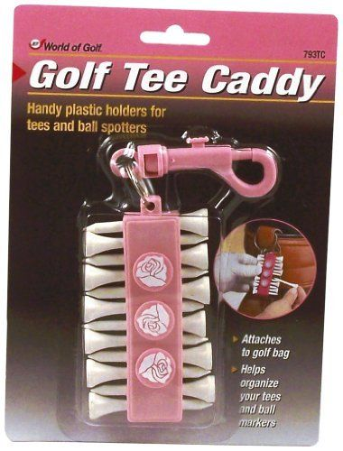 Jef World of Golf Gifts and Gallery, Inc. Pink Tee Caddy by JEF WORLD OF GOLF. $4.00. Golf Gifts and Gallery's Golf Tee Caddy is a handy pink plastic holder for tee's and ball markers. This caddy attaches to your golf bag and helps to organize your tees and ball markers. This caddy comes with 12 white wooden tees and 3 pink ball markers.
