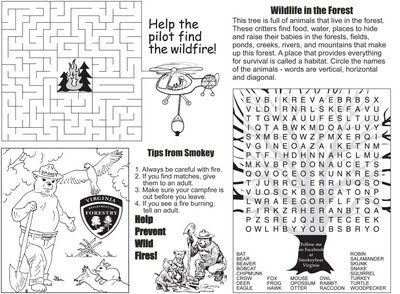 Smokey the Bear Activity Sheets for our trip to