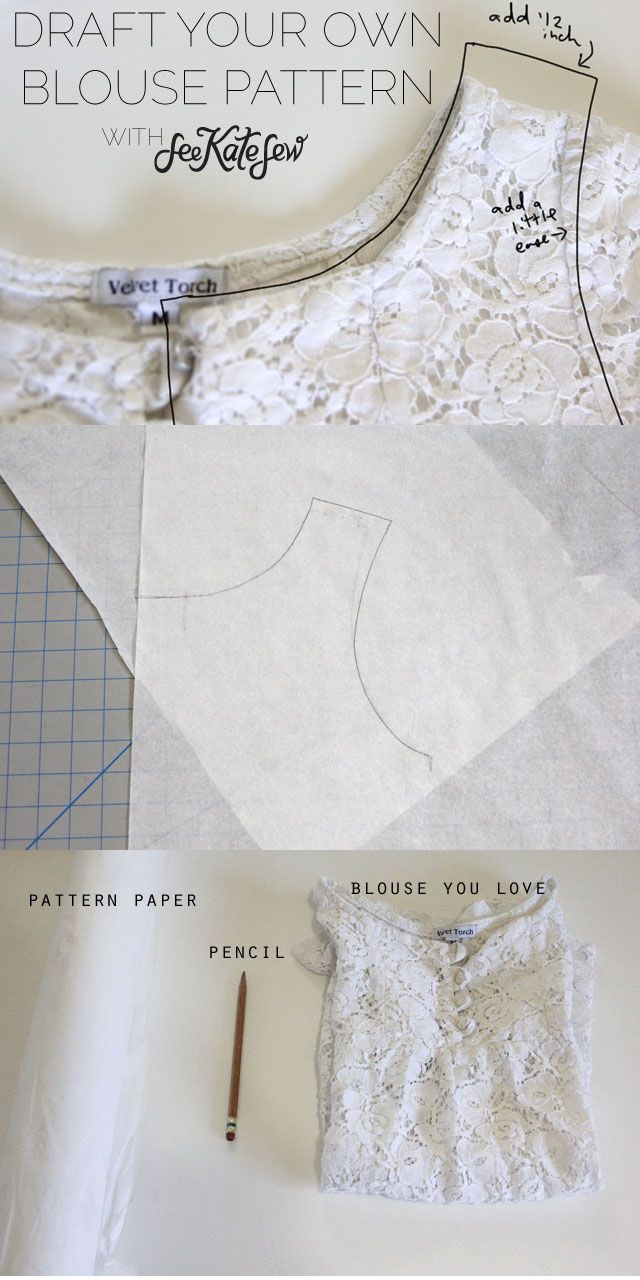 69376237f1 patternmaking: how to draft a basic blouse pattern from a blouse | A ...