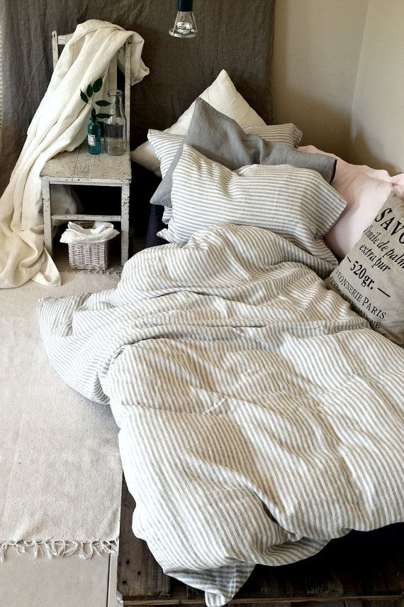 Pinstriped Linen Duvet Cover Gray And White Stripes Stonewashed Linen Quilt Cover Doona Cover Pure Linen Bedding Discount Bedroom Furniture Dorm Bedding Linen Duvet