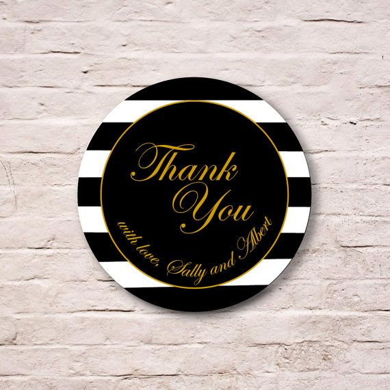 Black and White Stripes Gift Tag Stickers, Wedding Party Favor Stickers,  Engagement Party Label, Bachelorette Party Seal, Envelope Seals