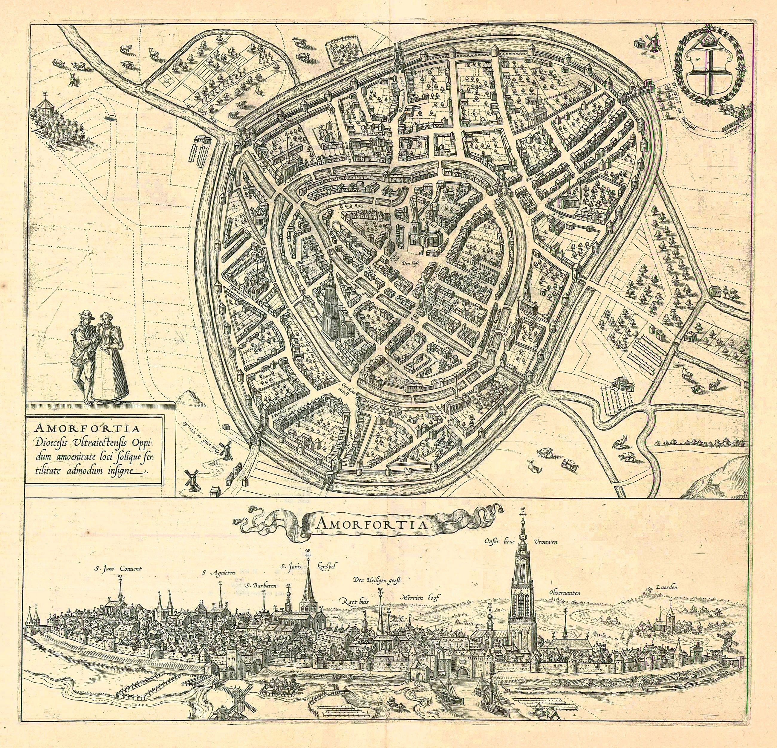Antique map birdseye view plan and view of Amersfoort by Braun