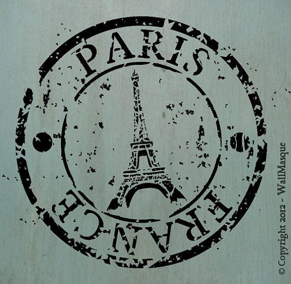 Paris-Frankreich-Stempel-Schablone von WallMasqueStencilCo auf Etsy