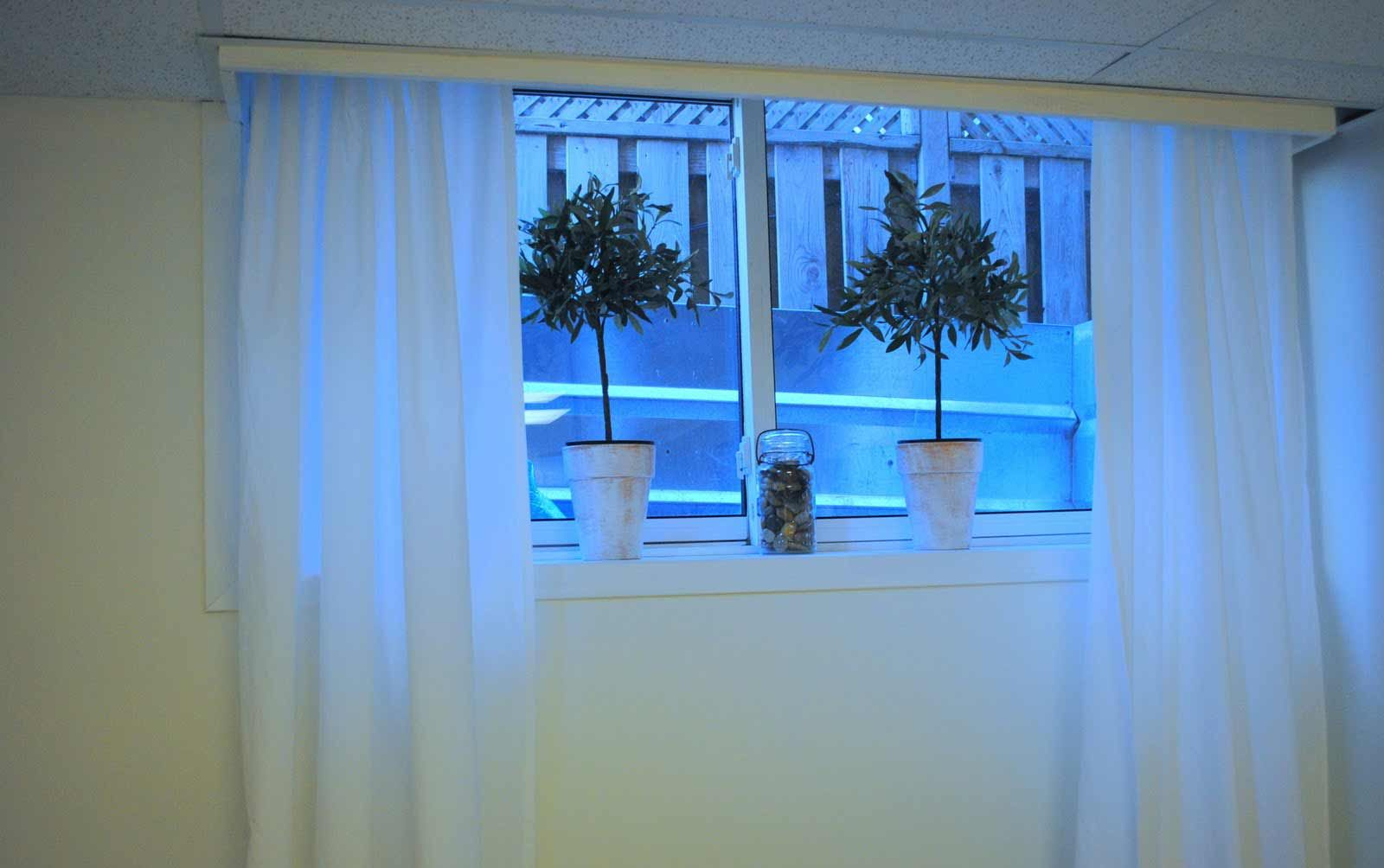 DIY UNFINISHED BASEMENT DECOR: white basement window curtains with ... for Short Curtains For Basement Windows  117dqh