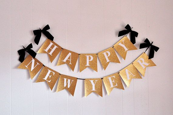 Happy New Years Banner. New Years Eve 2019 Decorations. New Years Eve Banner.