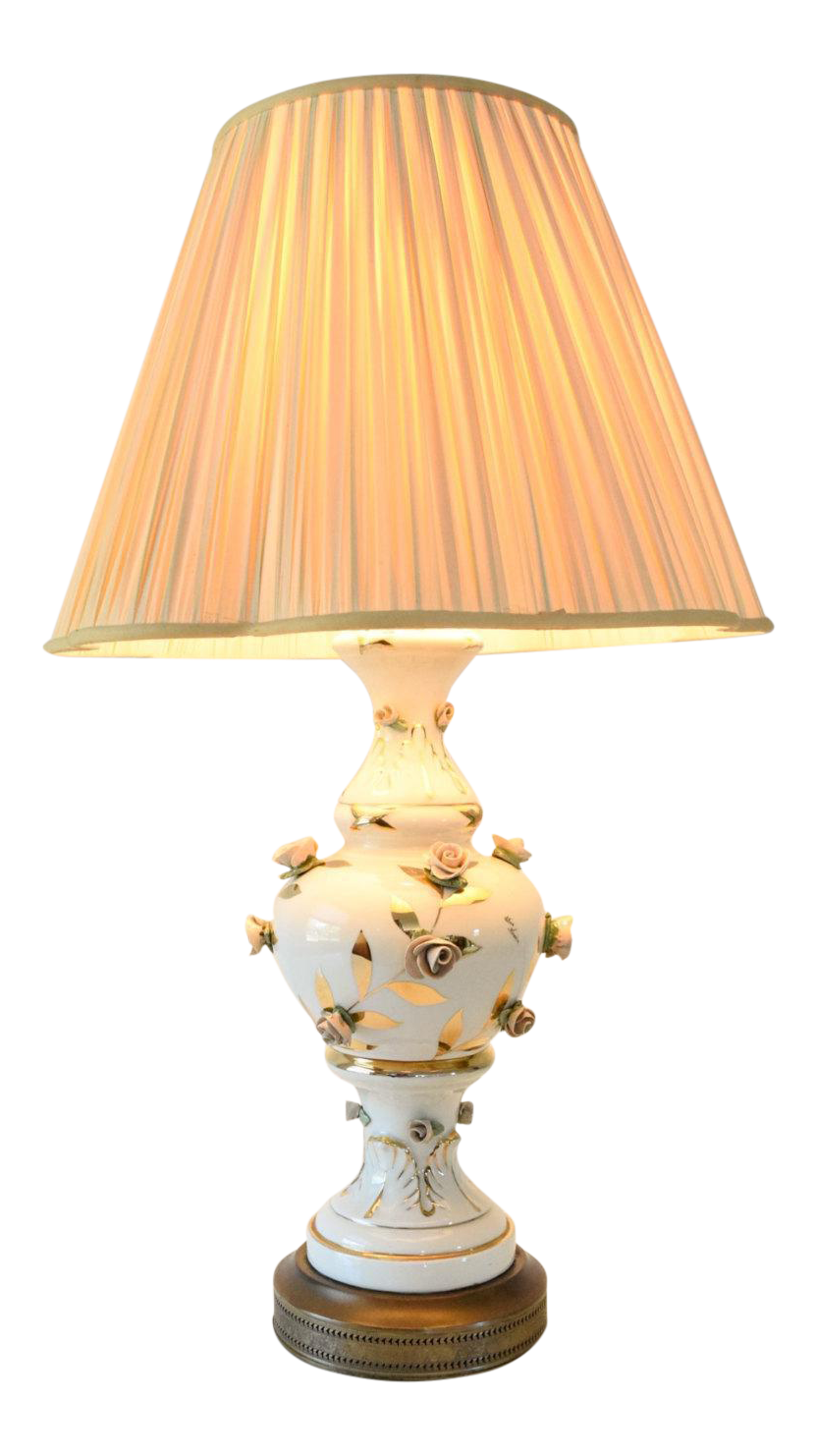 Antique victorian table lamp with rose motif aloadofball Choice Image