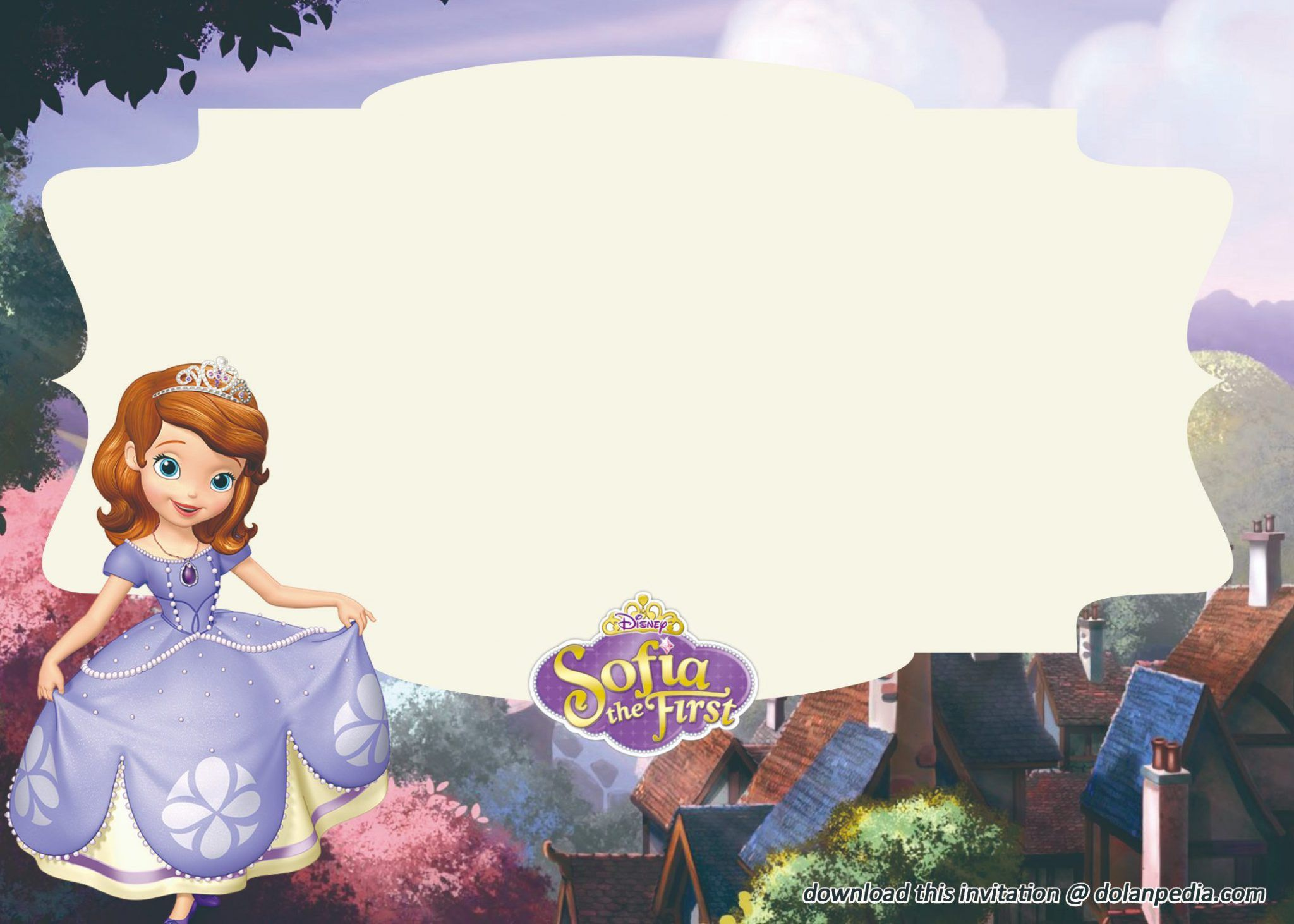 Does Your Little Girl Love To Watch Sofia The First If She Doe Sofia The First Invitation Template Free Printable Party Invitations Free Birthday Invitations