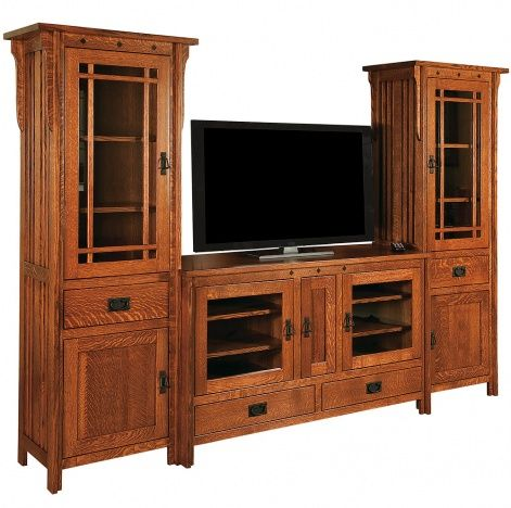 Royal Mission Amish Entertainment Center With Tower Cabinets In 2020 Mission Furniture Mission Style Furniture Wood Entertainment Center