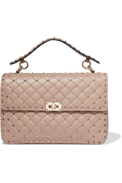 0b58f7d679 Valentino - Rockstud Spike Large Quilted Leather Shoulder Bag - Blush