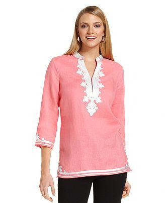 9339c68d83d Charter Club Top, Three-Quarter-Sleeve Linen Tunic - Tops - Women - Macy's