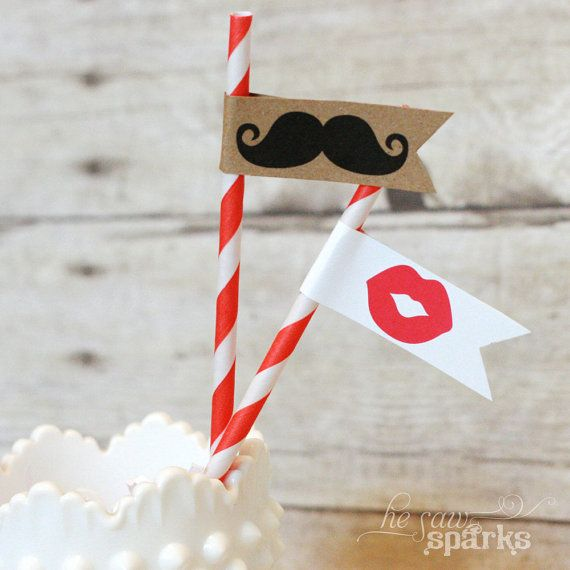 Printable Drink Flags  Moustaches and Lips by HeSawSparks on Etsy