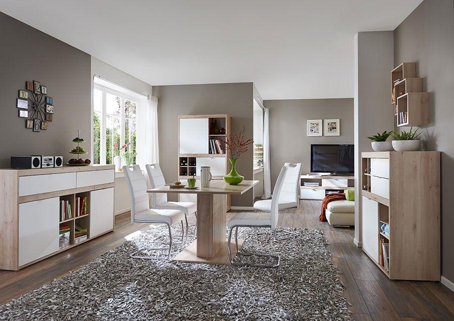 bibliotheque de sejour moderne couleur blanc et bois | bahuts ... - Sejour Contemporain Salle A Manger
