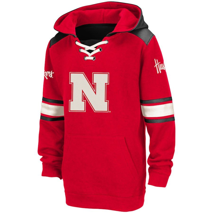 Nebraska Cornhuskers Colosseum Youth Lace Up Striped Pullover Hoodie Scarlet Pullover Hoodie Hoodies Cornhuskers [ 900 x 900 Pixel ]