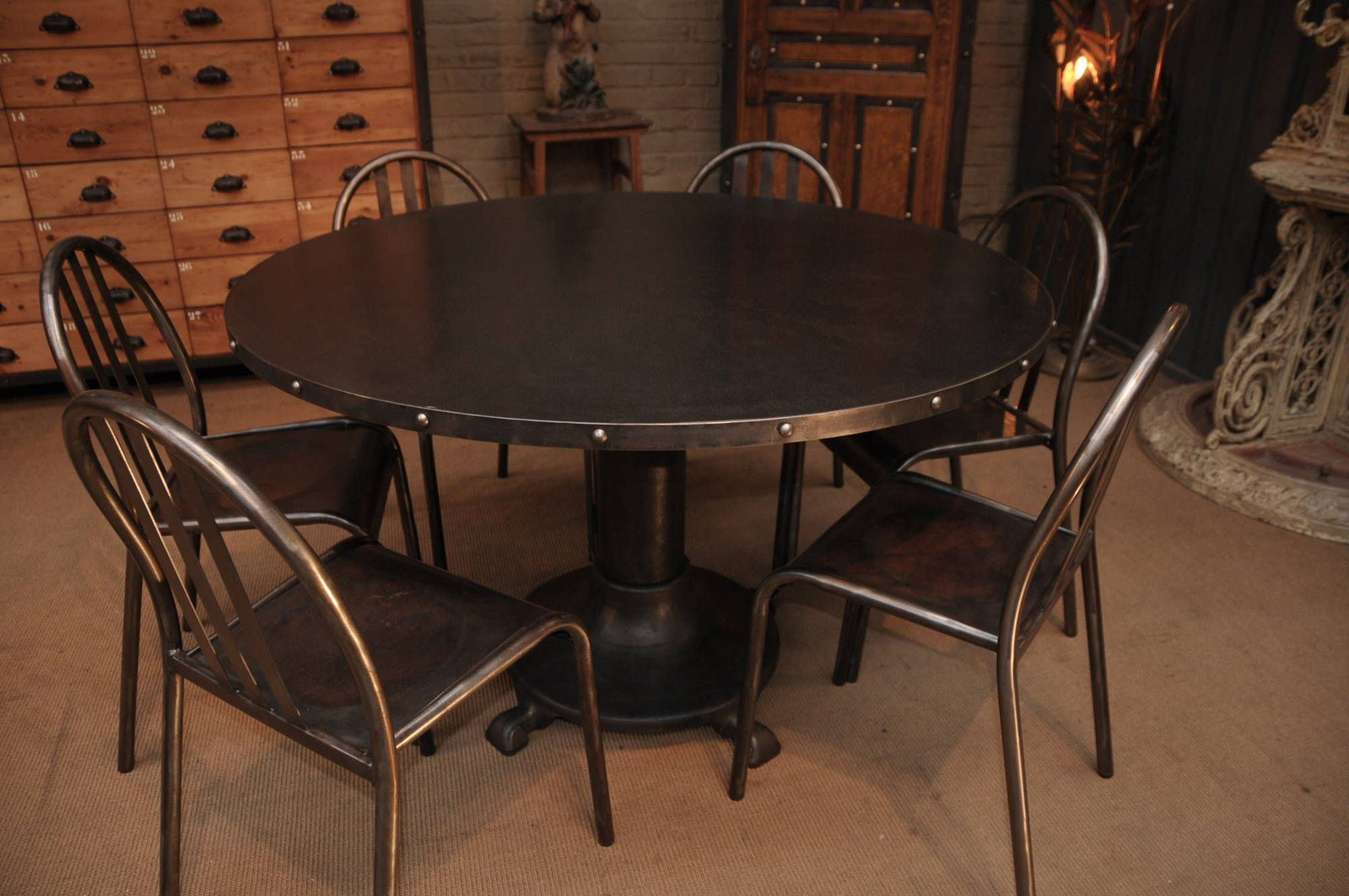 Industrial French Vintage Steel Dining Table with Rivets - SOLD ...