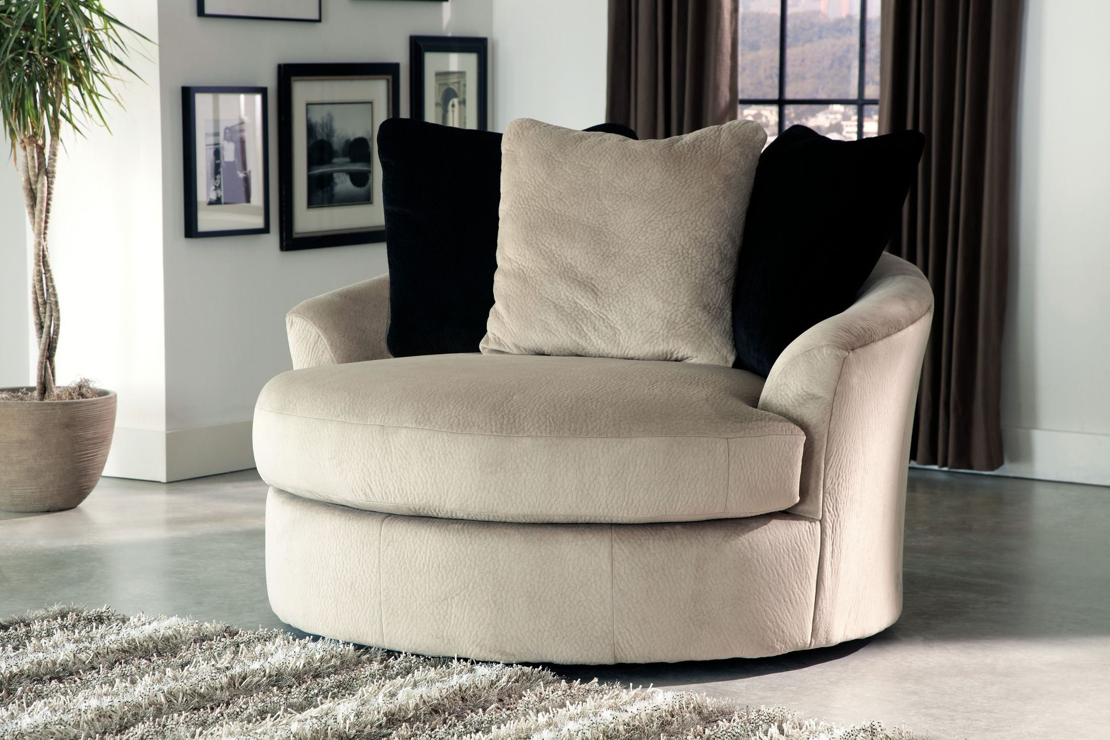 Heflin Pebble Oversized Swivel Accent Chair By Ashley
