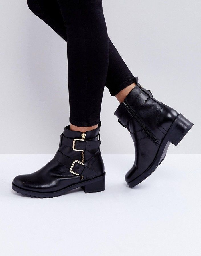 Faith Betsy Leather Biker Boots Leather Biker Boots Boots Black Biker Boots