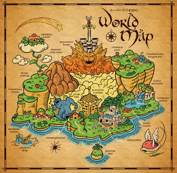Super mario rpg tribute on behance rpg research pinterest rpg super mario rpg tribute on behance world map postermap gumiabroncs Image collections