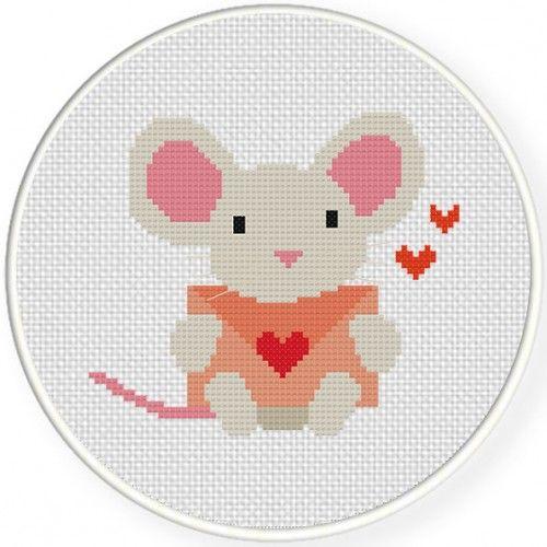 Mouse Post Cross Stitch Illustration